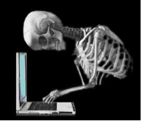 skeleton at computer